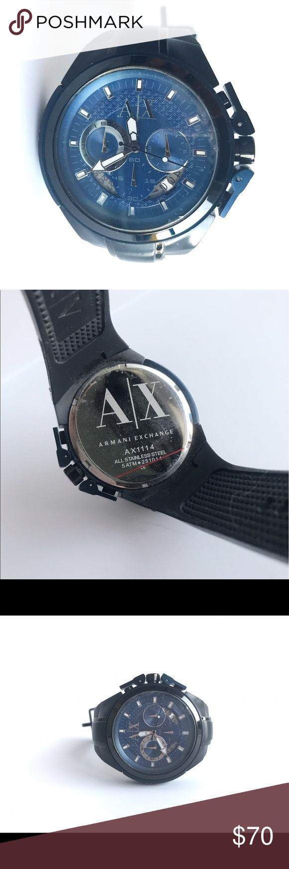 Armani exchange Mens watch This is a men's watch that has only been used a couple of times and still has backside sticker attached. It has rubber straps that are a black and navy blue. Let me know if you need more pictures or have any questions! 💕 A/X Armani Exchange Accessories Watches