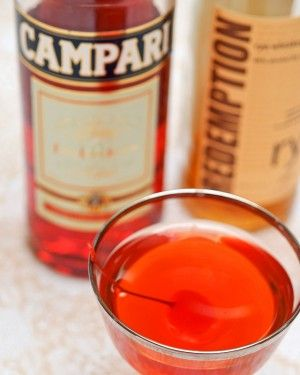 The Boulevardier (aka Bittersweet Manhattan): Rye Whiskey, Sweet Vermouth, Campari. #happyhour
