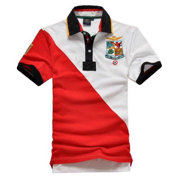 outlet ralph lauren Aeronautica Militare Short Sleeve Men's Polo Shirt  White Red http://