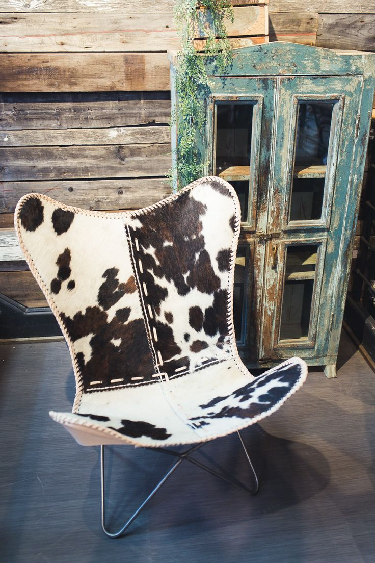 Cowhide chair to accentuate a modern ranch feel.