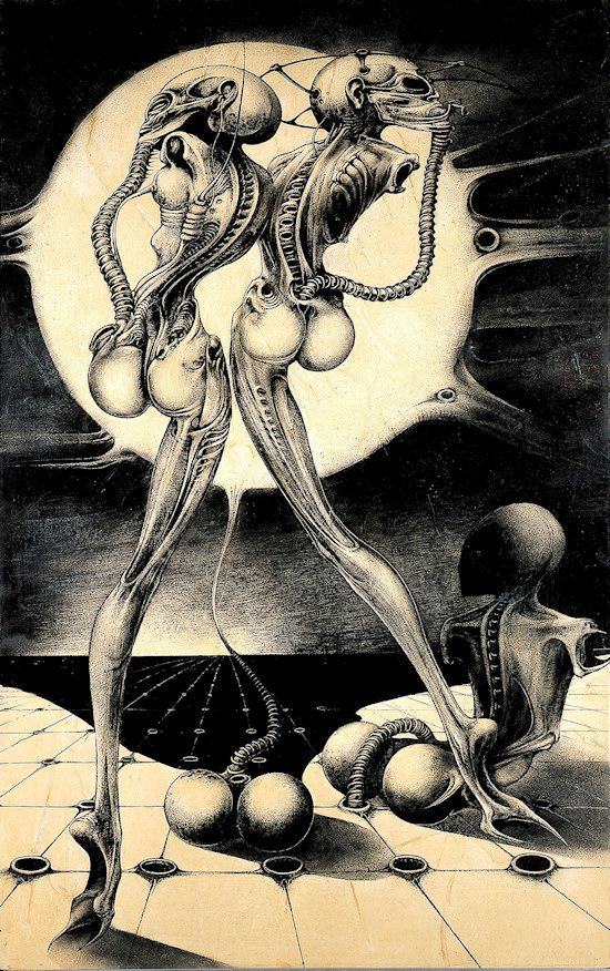 Atomic Children, 1967-68, Ink on transcop on paper on wood, 170x108cm, Hans Rudolph Giger