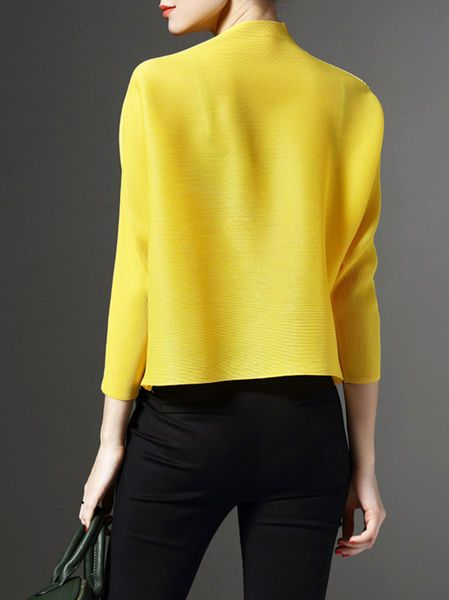 Yellow H-line Ribbed Turtleneck Long Sleeve Cropped Jacket