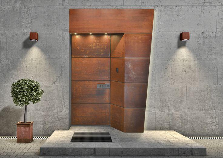 Eingangsportal STEEL mit wetterfesten Cortenstahl