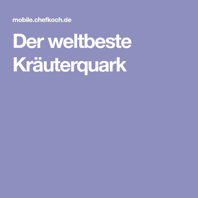 Der weltbeste Kräuterquark