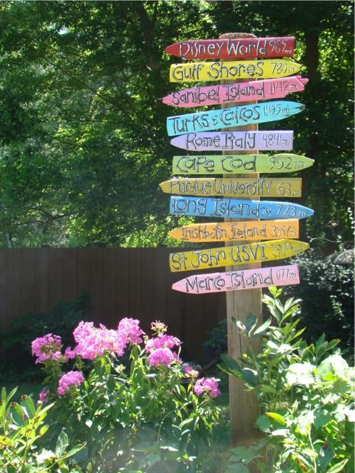Backyard garden sign of places you've traveled to. Slowly build as you go places. Love this idea :)