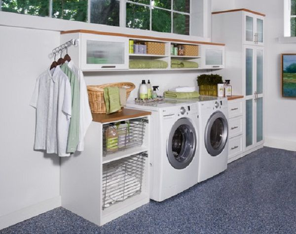 Bedroom with Laundry Room Organization Ideas: Laundry Room Organization Ideas Grey Rug White Wall Modern Washing Machine ~ dickoatts.com Bedroom Inspiration