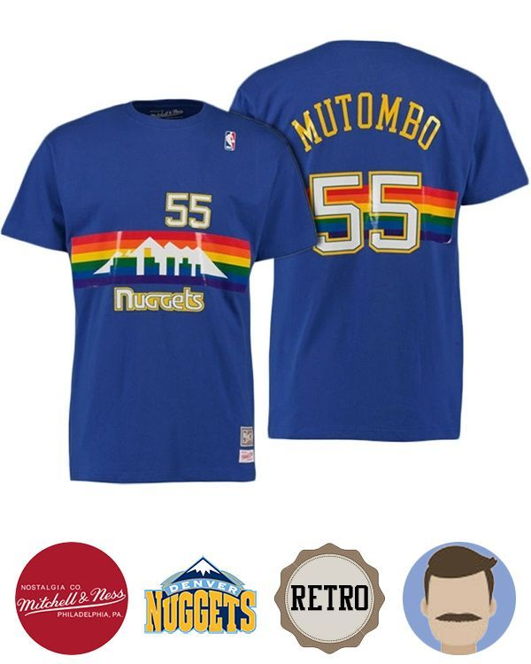 Pay your homage to Dikembe Mutombo who is a legendary figure in his own time with this Men's Hall of Fame Dikembe Mutombo Nuggets Blue T-Shirt decorated in team color. Vividly featuring player's name and number in the screen, you can feel the awe inspiring imposing manner when your idol fought shoul