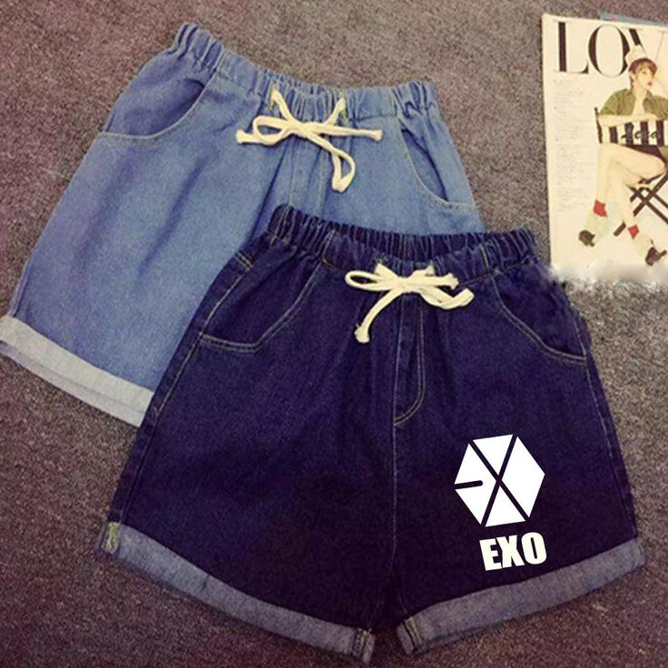2017 EXO chanyeol bakhyuns sehun with a new summer complex elastic waist tie curling denim shorts Limited free shipping