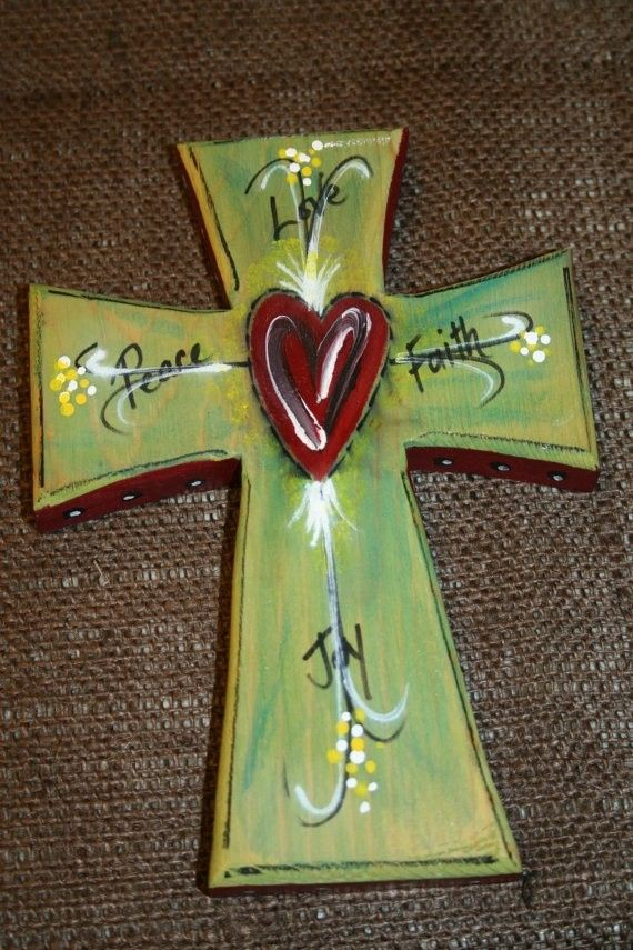 diy Superb wooden Hand Painted crosses - heart, peace love faith joy, polka dots