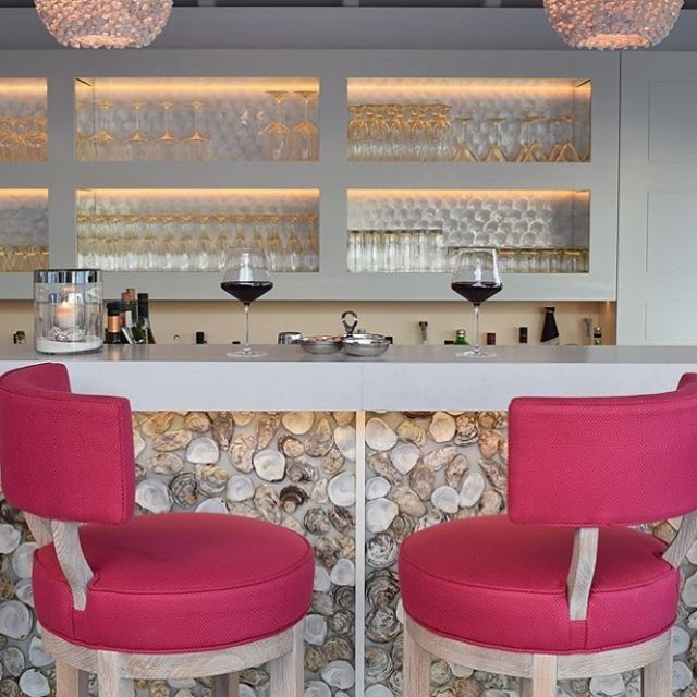 Perfect antidote to a crazy world.... oyster shell bar, mother of pearl joinery, bespoke bar stools and a large glass of wine! #hotelletoiny #osborninteriors