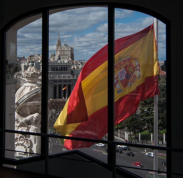 Spanish flag in Madrid, the country's capital city.