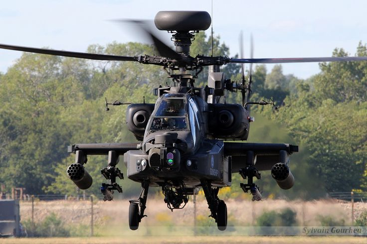 An AH-64 Apache helicopter of the British Army Air Corps, that also made a presentation, accompanied by pyrotechnics, at RIAT Fairford 2015.