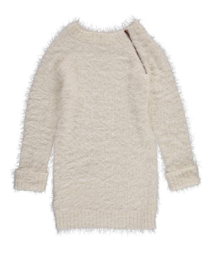 Shaggy Knit Zip Dress