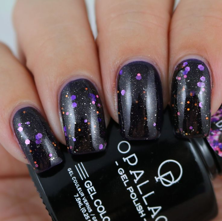 Opallac Gel Polish Glitter After Dark (over Violet Spark) swatched by Olivia Jade Nails