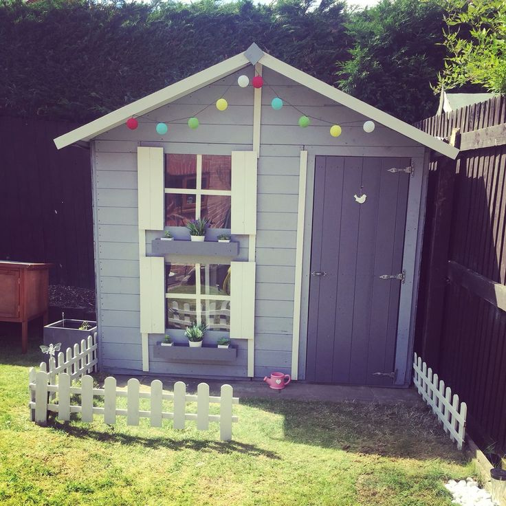 Wooden playhouse grey combination on a Billy Oh product using Cuprinol and Ronseal