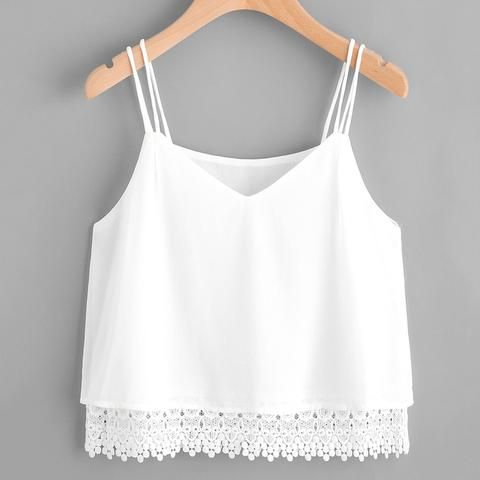7d70595348ae95 Women White Lace Tops Female Sexy Tank Top Camisole 2018 Summer Camis Crop  Top Ap11