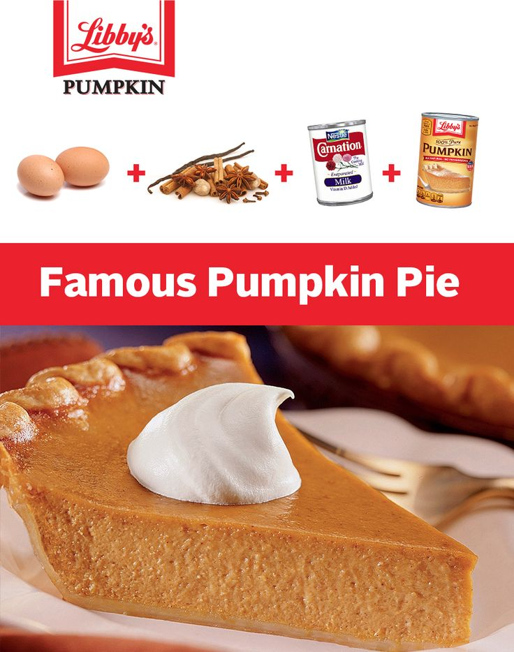 Our famous pumpkin pie recipe has been on LIBBY'S® Pumpkin labels since 1950. It's easy to prepare, homemade and full of wholesome goodness. Just mix, pour and bake!