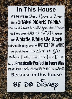 In this house we do disney by Marshallsigns on Etsy