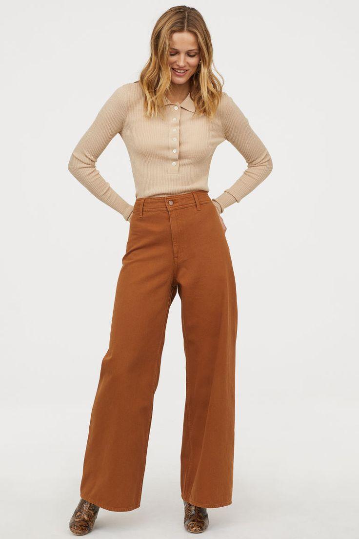 Women Corduroy Capri Pants Wide Leg Trousers High Waist Loose Casual Black Brown