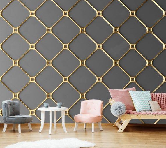 Golden Gray Geometry Wallpaper 3d Wall Sticker Wall Decor Peel And Stick Wallpaper Wall Mural Self A Grey Wallpaper Accent Wall Wall Decor Stickers Wall Decor