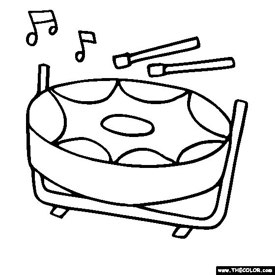 Steelpan Drum, Steel Drum Coloring Page