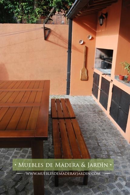 Mesa de madera con bancos para patios mesas pinterest for Mesas para patio