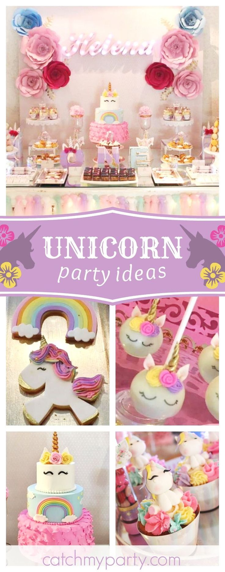 Take a look at this magical Unicorn birthday party! The birthday cake is amazing!! See more party ideas and share yours at CatchMyParty.com #partyideas #catchmyparty #unicorn #girlbirthday