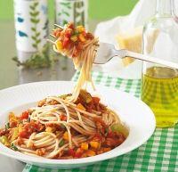 Spaghetti mit Soja-Bolognese http://www.brigitte.de/rezepte/rezepte/spaghetti_mit_soja-bolognese