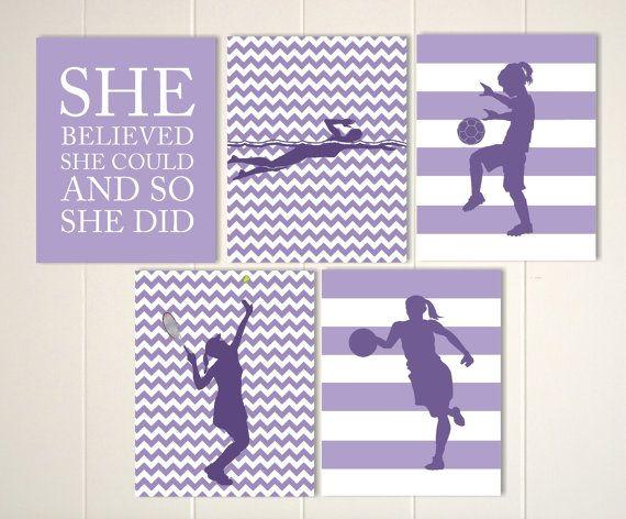 Tennis player, soccer girl, basketball player, swimmer, girls wall art, inspirational girls quotes, sports art, girls sports, set of 5 by PicabooArtStudio, $36.00