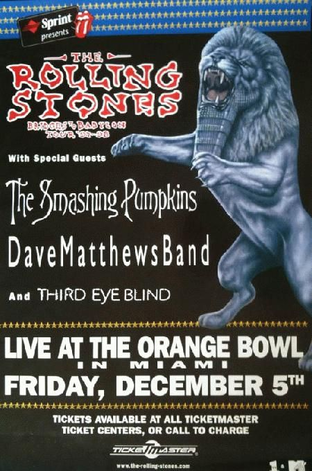 Original concert poster for Rolling Stones at The Orange Bowl in Miami, FL on 12/5/1997 featuring special guests the Smashing Pumpkins, Dave Matthews Band, and Third Eye Blind...Would have L♥ved to be there!