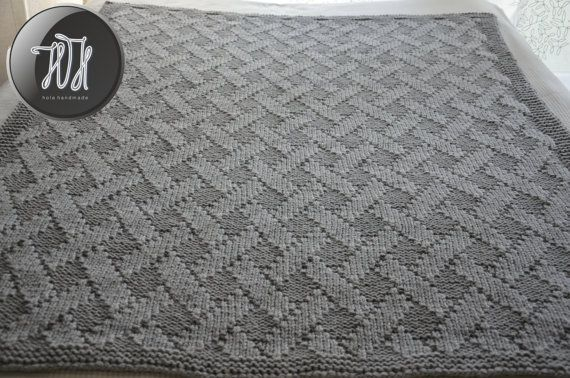 Handmade knitted blanket gray by HolaHandmade on Etsy