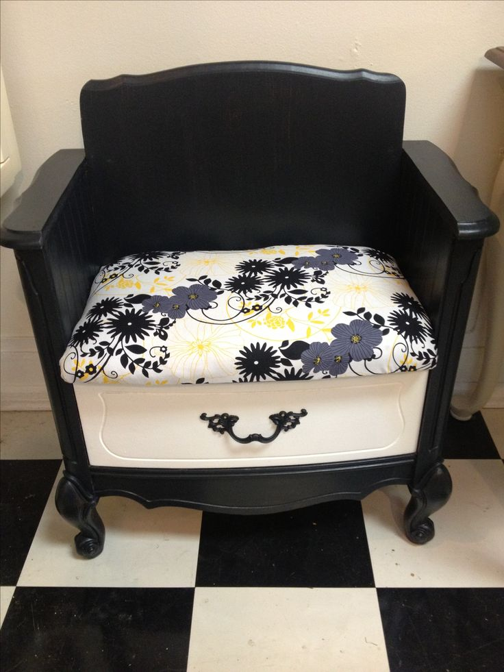nightstand repurposed into this cute chair with drawer storage!