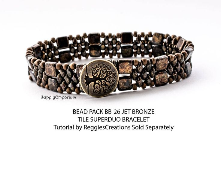 BB26 Jet Bronze Picasso BEAD PACK for CzechMates Tile and Superduo Cuff, Tutorial by ReggiesCreations Sold Separately, Bead Pack BB-26 by SupplyEmporium on Etsy https://www.etsy.com/listing/495686024/bb26-jet-bronze-picasso-bead-pack-for