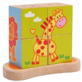 """Drevené kocky """"Zvieratká""""  Štyri veľké drevené kocky ukazujú štyri rôzne zvieracie motívy a sú skvelou hrou pre podporu motorických funkcií dieťaťa. Pestrofarebné zvieratká môže dieťatko poskladať ukladaním jednej kocky na druhú, a vytvárať tak až štyri veselé detské motívy (slon, žirafa, zebra, lev)."""