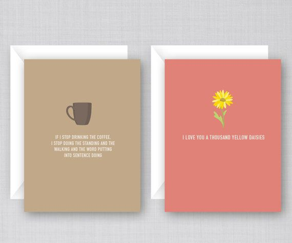 These cards have quotes and references to the TV show Gilmore Girls. Share your love for Gilmore Girls with your own friends. Comes in a pack