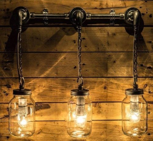 Handmade-Steel-Wall-or-Ceiling-Light-lamp-similar-to-Steampunk-light-Mason-Jar