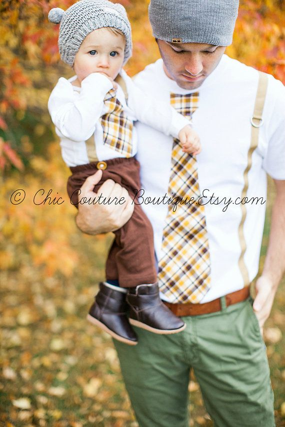 New Tie and Suspenders Dad & Baby Boy Set. Father Son. Thanksgiving Plaid Tan Mustard Yellow Chocolate Brown. Baby's 1st Christmas Holiday.