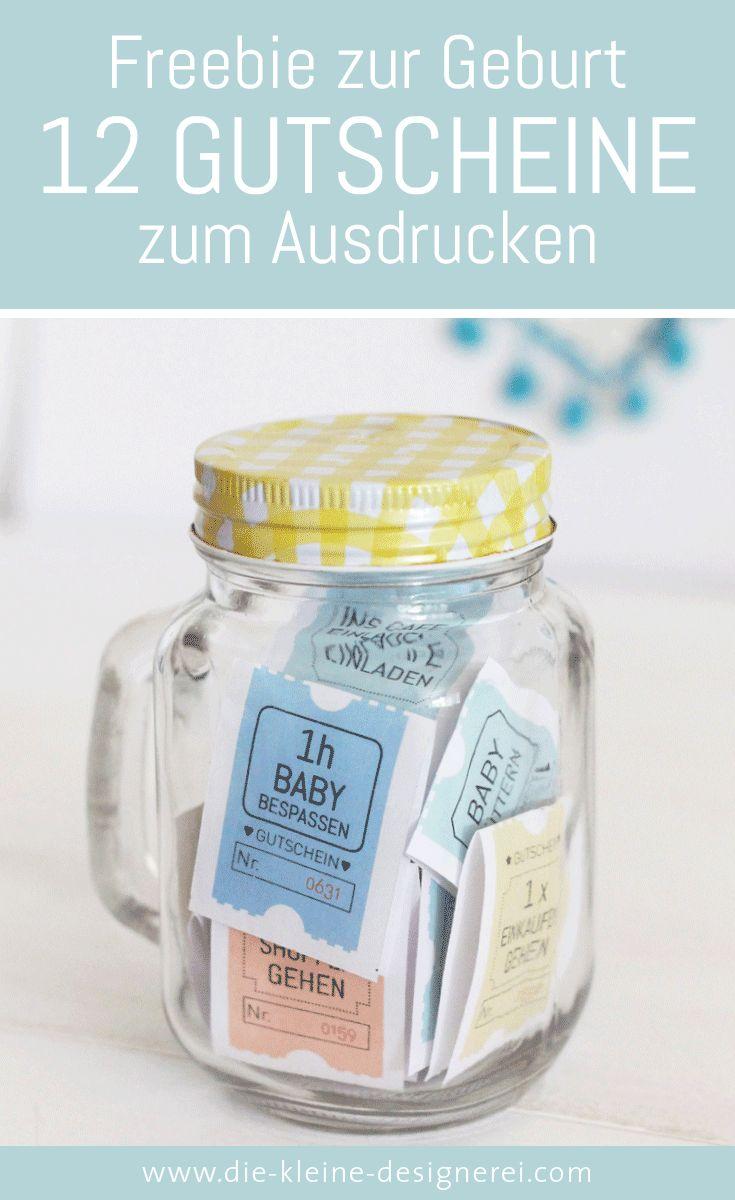 Geschenkidee zur Geburt, 12 Baby Gutscheine zum Ausdrucken
