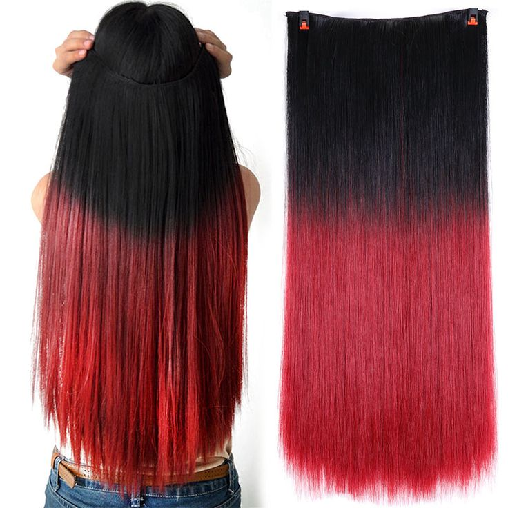 """24""""5clips Clip In Ombre Hair Extension Long Straight Synthetic Hair Red Purple Brown Clip in Synthetic Hair Extension hairpieces"""