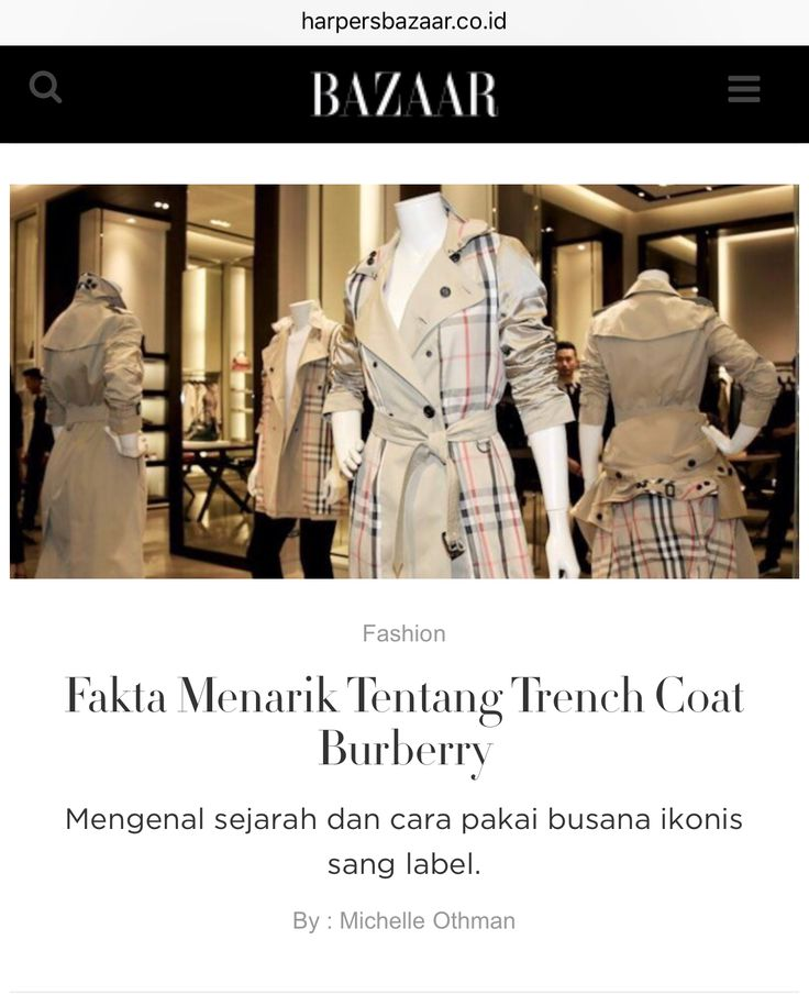 The history of the Burberry trench coat - article for Harper's Bazaar website