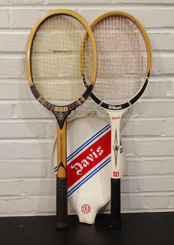 Pair of Vintage Wooden Tennis Rackets / TAD Davis with Cover / Wilson / Tennis Racquets