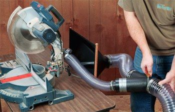 Dust hood collecting from miter saw