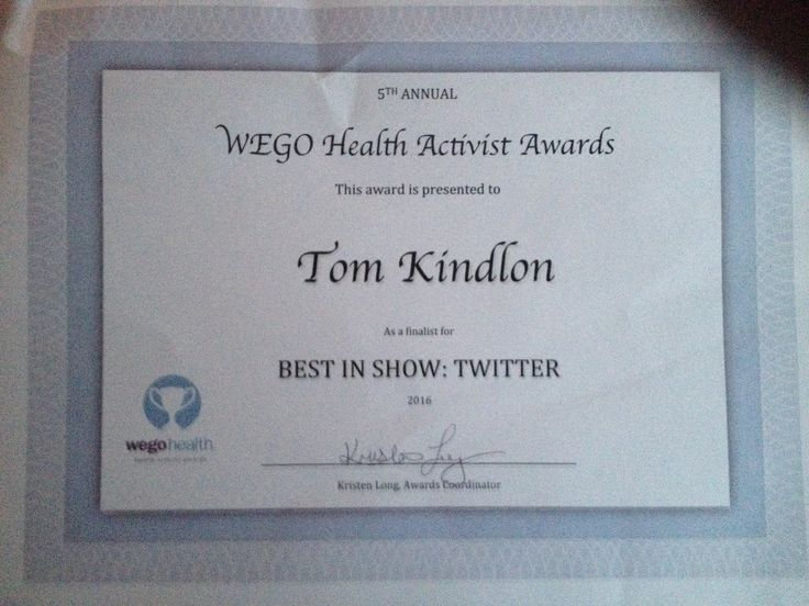 Honoured to be one of the finalists in the Wego Health activist awards 2016. Just received this T-shirt and certificate.  https://awards.wegohealth.com/nominees/230
