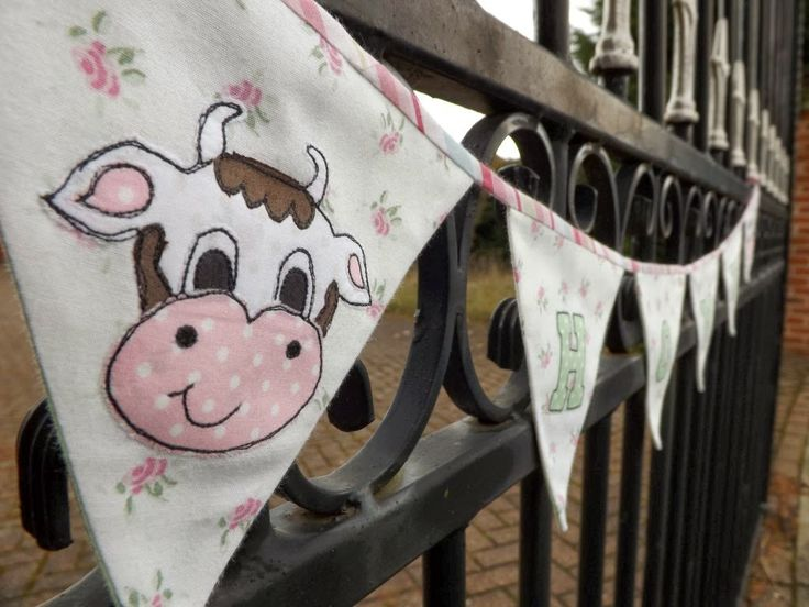 SewforSoul: Appliqued Farm Garland / Embroidered Cow Bunting