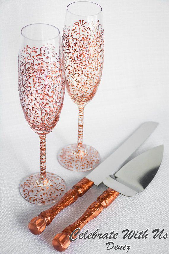 ROSE GOLD Wedding Glasses and Cake Server Set Wedding Cake