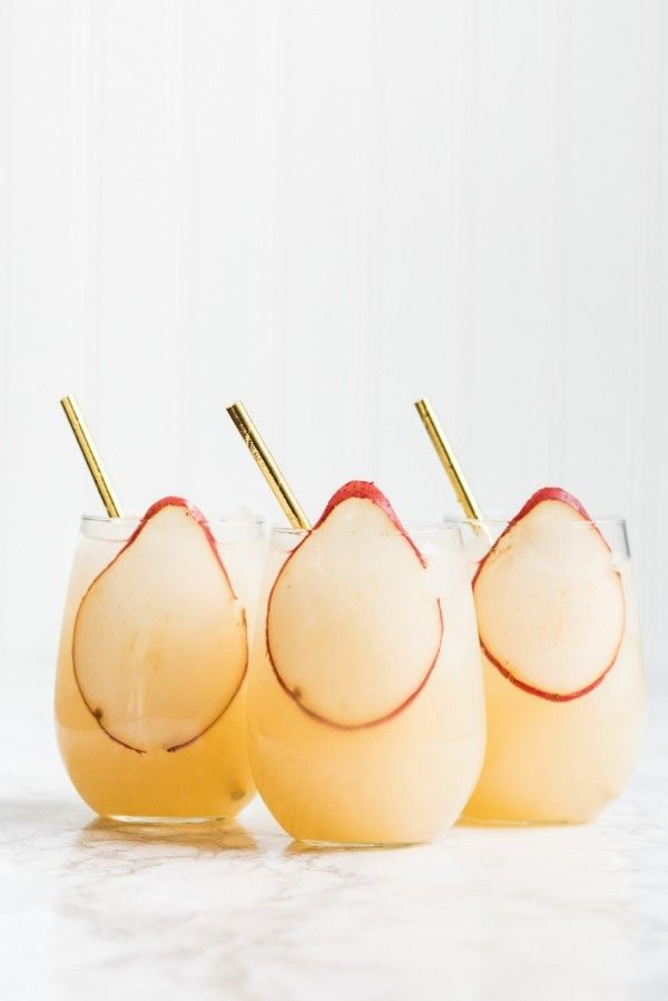 Fizzy Spiked Pear Punch Champagne Cocktail
