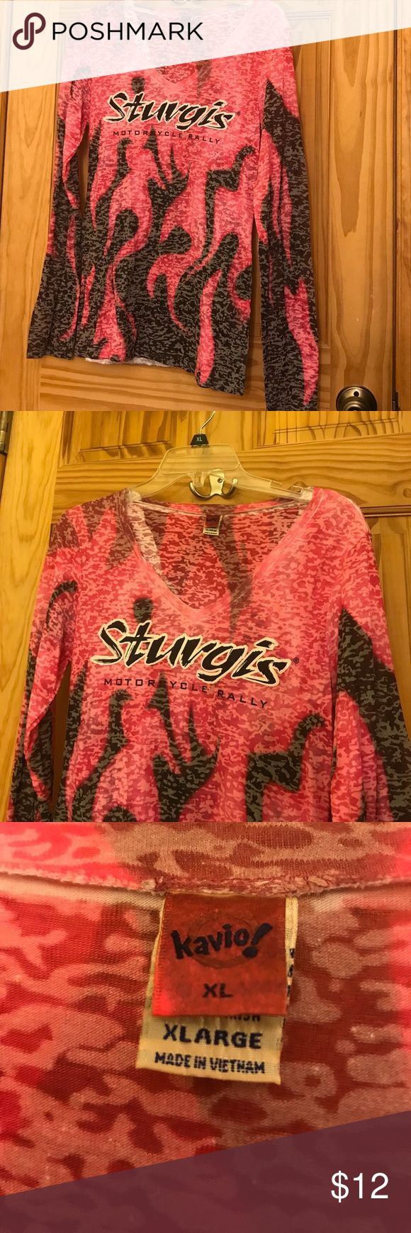 STURGIS Motorcycle 🏍 Rally Burnout Tee Pink and Black STURGIS Motorcycle 🏍 Rally Long Sleeve burnout tee. Tag says XL but runs between medium and large.... This was bought for me and I have never worn it. EXCELLENT CONDITION. Kavio Tops Tees - Long Sleeve