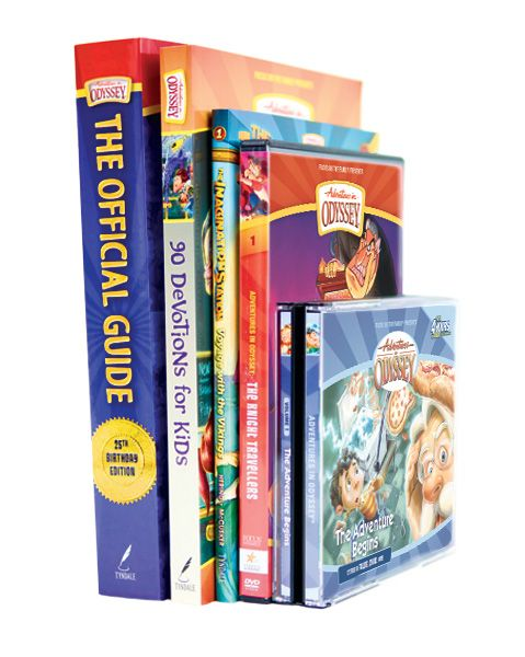 Let the fun begin! Get a foundational selection from the Odyssey collection at a really great price with the Adventures in Odyssey Starter Pack. The pack includes the first audio album, DVD, book, devotional and official guide!