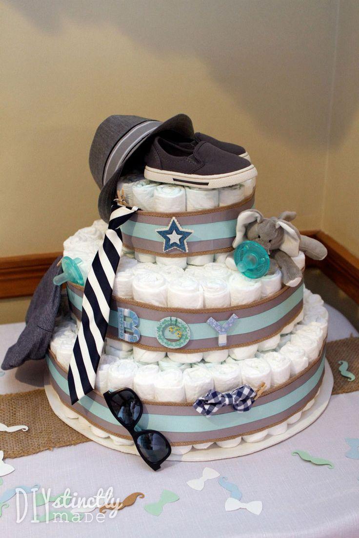 """""""Little Man"""" themed baby shower - diaper cake"""