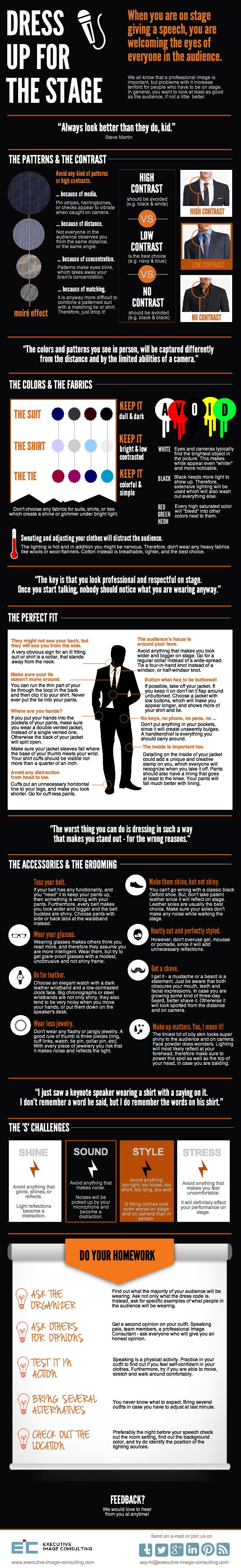 "Is it important what you wear while speaking on a stage? ABSOLUTELY! This #infographic gives practicable hands-on advice, especially for male keynote speakers who want to rock the stage in a professional manner. ""What to wear as a Professional Speaker"", designed by Executive Image Consulting, www.executive-image-consulting.com, New York, #professionalspeaker #professionalimage #executiveimageconsulting #imageconsulting #publicspeaking"
